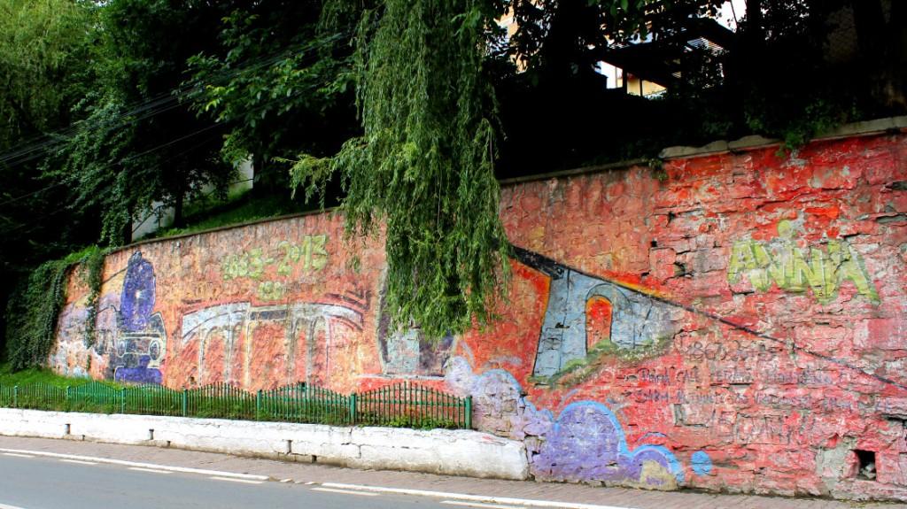 Pictură murală din Anina la aniversarea de 150 de ani a căii ferate Anina-Oraviţa